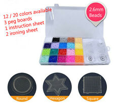 2.6mm Fuse Perler Hama Beads Refill Pack & 3 pegboards Stater Kit Kids Crafts