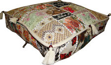 INDIAN VINTAGE PATCHWORK FLOOR CUSHION COVER OTTOMAN SEAT WALL HANGING ART WORK
