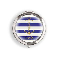 Anchor Blue Stripes Personalized Compact Mirror Wedding Bridesmaid Gift Q27308