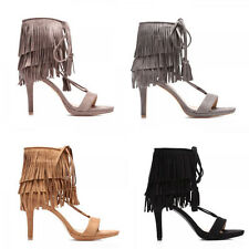 WOMENS LADIES STRAPPY TASSLE TIE UP HIGH HEEL ANKLE SHOES SANDALS SIZE 2-7