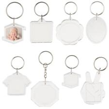 10pcs Blank Clear Acrylic Keyring Picture Photo Frame Insert Keychain Crafts DIY