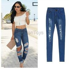 Women High Waist Skinny Boyfriend Ripped Jeans Destroyed Distressed Denim Pants