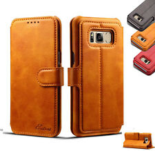 Samsung Galaxy S8 S8 Plus Genuine Retro Leather Wallet Case Card Holder Cover