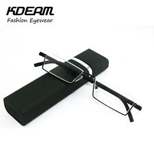 Glasses Compact Reading Case Half Metal Frame Slim Portable Anti Eye Fatigue New