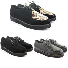 Womens Creepers Lace Up Style Low Wedge Flat Heel Platform Goth Punk Shoes Size