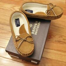 NEW Womens Brooks Brothers Suede Leather Moccasin Slippers $49.50