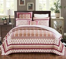DaDa Bedding Elegant Bohemian Ruby Red Paisley Floral Quilt Cover Bedspread Set