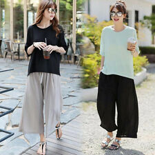 Plus Size Women Wide Leg Straight Loose Casual Thin Summer Long Pants Trouser