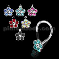 20G 6MM 925 Sterling Silver Colorful Flower Nose Screws Body Jewelry