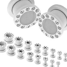 Pair or 2 Set Stainless Steel Flesh Tunnel Ear Plug Piercing Gauge Rhinestones