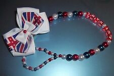 England Union Jack Red White Blue Personalised Dummy Chain Crystal Bling Baby