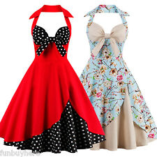 50s 60s Womens Vintage Rockabilly Pinup Hepburn Halter Swing Evening Party Dress