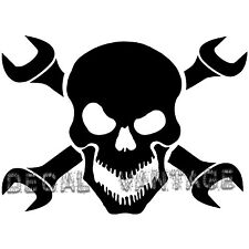 Skull and Wrench Crossbones Vinyl Sticker Decal - Choose Size & Color