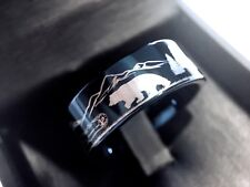 Bears Rings, Two Bears in Mountains, Tungsten Wedding Band, Mens Tungsten  Rings