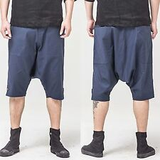 Men Casual Blue Low Rise Drop Crotch Harem Pants Trousers Bermuda Beach Shorts