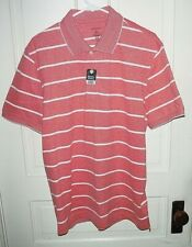 Nwt George Mens Stripe Pique Polo Red Short sleeve Dress Shirt
