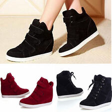 FASHION Women's Ankle Boots High Top Wedge Hidden Heels Casual Sneakers Shoes