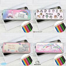 PERSONALISED Pencil Pen Case Tin & Pencils ANY Name Back to School Gift For Girl