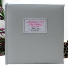 Personalised 50th Birthday Photo Album - Silver - Add a Name & Message