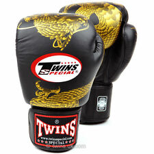 Twins Special Black Gold Dragon Muay Thai Velcro Boxing Gloves - FBGV-23