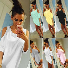 1 pcs Off Shoulder Loose Ladies Summer Casual Shirt Womens Blouse Top Fashion