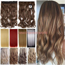 Real Thick One Piece Long Straight as Remy Wavy Clip In Hair Extensions US Lady