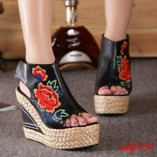 Womens Embroidery Wedge High Heels Peep Toe Platform Roma Sandals New Chic