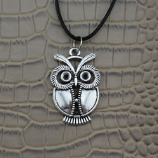 NEW Owl Bird Pendant Silver Charm Black PU Leather Necklace Chain Jewelry Gift