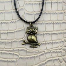 NEW Owl Bird Pendant Bronze Silver Charm Black Leather Necklace Chain Jewelry