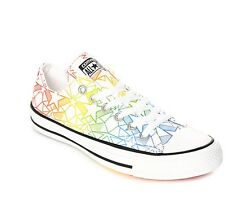 New Mens Womens Converse CTAS Ox Pride Pack Chuck White & Rainbow LGBT Shoes z1
