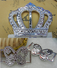 10 Large Crown or Butterfly Plastic Buckle Ribbon Sliders Craft DIY