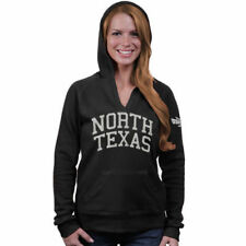 North Texas Mean Green Women's Black Chain V-Notch Hoodie - College
