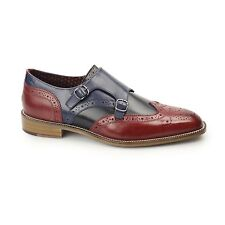 London Brogues CURTIS Mens Leather Wingtip Brogue Monkstrap Shoes Red/Black/Navy