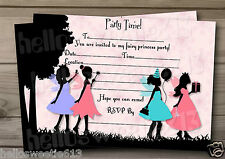 1-10 SILHOUETTE FAIRY PRINCESS BIRTHDAY PARTY INVITATIONS OR THANK YOU CARDS