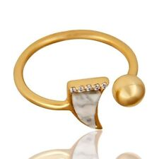 CZ Adjustable Gold Plated Sterling Silver Howlite Gemstone Ring Jewelry