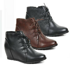 WOMENS LADIES HIGH WEDGE CONCEALED HEEL LACE UP ANKLE BOOTS SHOES SIZE 3-8