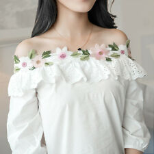 New Sweet Women Off Shoulder Embroidered 3/4 Sleeve Casual Blouse T-shirt Tops