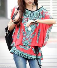 New Womens Batwing Sleeve Vintage Floral Print Top Loose Blouse Shirt Party Tops