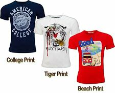 Mens Beach Tiger American College Printed Cotton Stretch T Shirt Casual Top