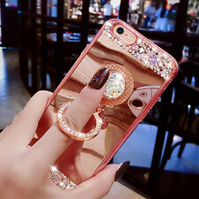 Diamond Mirror Bling Rhinestone Finger Ring Cover Case for iPhone 7 & Samsung S8