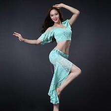 new arrival women belly dance costume outfit set Class Lace 2pics top skirt