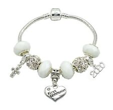 '2017' First Holy Communion Silver Plated Charm Bracelet for Girls with Gift Box