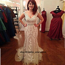 2017 Lace Mermaid Backless Evening Dresses V-Neck Formal Prom Wedding Party Gown