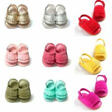 0-18M Newborn Kids Baby Sandal Crib Shoes PU Leather Fringe Soft Sole Baby Shoes