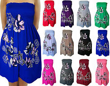 Ladies Glitter Top Sheering Bandeau Gathered Floral Butterfly Print Mini Dress