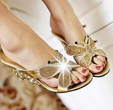 Womens Party Slides Slippers Shoes Bling Diamond Wedges High Heels Mules Sandals