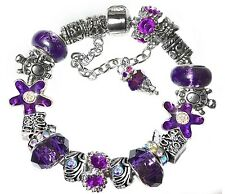 Love You Silver Charm Bracelet Purple Beads Faceted Cut Glass Crystal Beads
