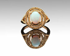 925 Sterling Silver Ring with Natural Opal Round Cut Gemstone Handmade.