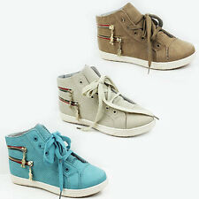 WOMENS LADIES FLAT LACE UP ANKLE TRAINERS PUMPS SNEAKERS SHOES SIZE 3-8