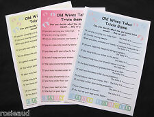OLD WIVES TALES TRIVIA GAME-YELLOW/PINK/BLUE BABY SHOWER GAME-20, 30 or 40 CARDS